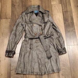 Grey Leather Like Trench Coat Jacket